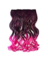Colorlife 24 Inches/60cm Black To Rosy Red Color Curly Synthetic Full Head Clip In Hair Extension
