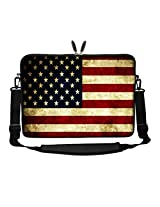 Meffort Inc 17 17.3 inch Neoprene Laptop Sleeve Bag Carrying Case with Hidden Handle and Adjustable Shoulder Strap - USA Flags