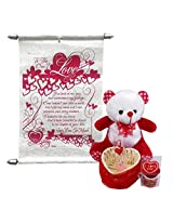 Valentine Gift For Girls - Soft Teddy With Love Scroll Card & Love Showpiece