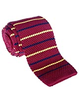 "Retreez Casual Preppy Thin Stripes Men's 2.4"" Skinny Knit Tie - Burgundy with Yellow and Navy Blue"