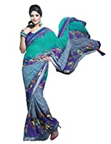 Admyrin Turquoise and Grey Georgette Saree with Indigo Blouse Piece