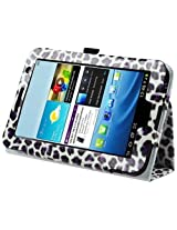 eForCity Leather Case with Stand Compatible with Samsung Galaxy Tab 2 7.0 P3100/ P3110/ P3113 White/ Purple Leopard