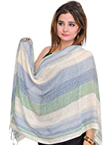 Exotic India Tri-Color Stole with Woven Stripes - Off-White