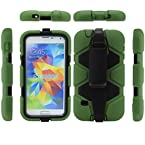 Bracevor 4 in 1 Heavy Duty Armor Case Cover with rotating Belt clip holster Stand for Samsung Galaxy S5 i9600 (Military green)