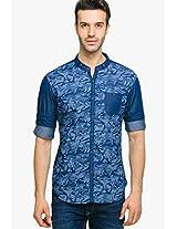 Printed Blue Casual Shirt Status Quo