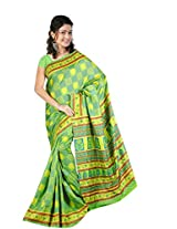 Khushali Women's Printed Multi Color Tussar Silk Saree With Unstitched Blouse Piece (Light Green)