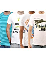 Fubktees Best Price Premium Cotton L Size T Shirts - Pack of 4