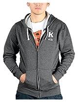 Kokkivo Clothing Men's Cotton Hoodie (KCHOOK14_Charcoal Melange_Small)
