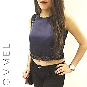 Ommel Paloma Sequined Hem Crop Top