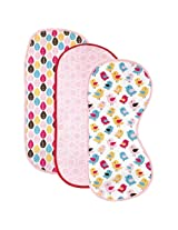 HudsonBaby Curved Burp Cloth, Pink Bird, 3-Count
