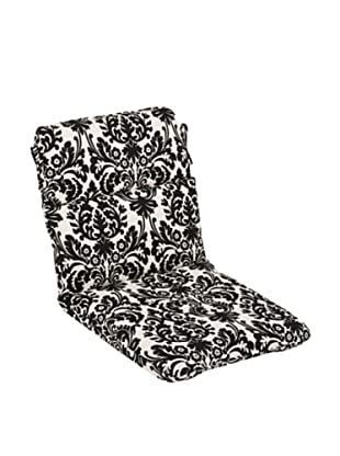 Pillow Perfect Outdoor Essence Damask Rounded Corner Chair Cushion, Black/Beige
