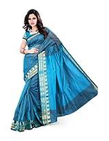 "Asavari ""Meenakari"" Blue Cotton Net Banarasi Saree"