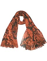 INDMODE Girls' Scarf (Coral and Black)