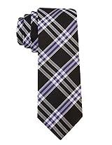 Scott Allan Men's 100% Silk Plaid Necktie - Black/Blue