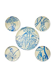 Thomas Paul Melamine Hong Kong Garden Tray and Side Plate Set, Blue/Cream