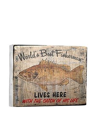 Artehouse World's Best Fisherman Reclaimed Wood Sign