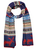 Women's Snowflake & Reindeer Multi-Color Knitted Reversible Long Scarf, Red/Blue