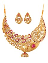 Touchstone Antique Gold Plated rich traditional Peacock Necklace Set PWNSL380-01AZ-G