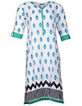 Bunkaari India Women's Cotton Regular Fit Kurti (00LK 18_44, White, 44)