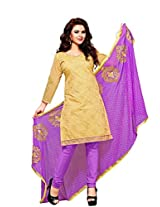 Vibes Women Cotton Salwar Suit Dress Material (V204-112 _Yellow _Free Size)