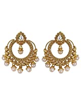 Muchmore Ethnic Traditional Pearl Drop Gold Plated Polki Earring For Women