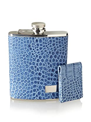 Wilouby Stainless Steel Flask/Money Clip Gift Set, Blue