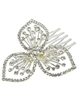 Gorgeous Floral Design Work Silver Plated Hair Clip For Girls Gift Jewelry