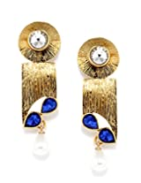 Bindhani Traditional Blue Stone Faux Pearls Drop Earrings For Women