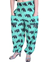 Exotic India Yoga Trousers with Printed Elephants and Front Pockets - Color Waterfall GreenGarment Size Free Size
