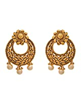 JFL - Glorious Gold Designer Earrings with Intricate Craftmanship n Pearl Dangler (One Gram Gold Polish)