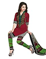 Jevi Prints Maroon & Green Cotton Printed Unstitched Dress Material