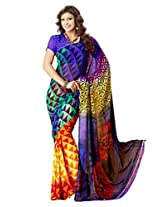 Vibes Women's Weighless butic Saree with Blouse (S22-1408A_ Multi-Coloured)