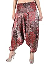 Exotic India Womens Satin Harem -Red, (Free Size)