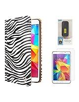 VG Zebra Print Mary Portfolio Multi Purpose Book Style Slim Flip Cover Case for Samsung Galaxy Tab4 T330/T331 8.0 (White) + 6000 mAh PowerBank + Matte Screen