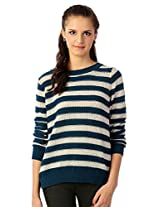 Allen Solly Blue and White Striped Sweater