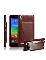 Excelsior Premium Leather Card Holder Cover Case for Lenovo A6000/A6000 Plus - Brown