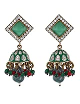 Be You Lovely Green Colour Meena work Diamond Look Rhodium Plated Brass Jhumki Earring for Women
