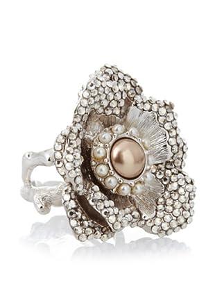 Judith Leiber Rhodium-Plated Flower Ring