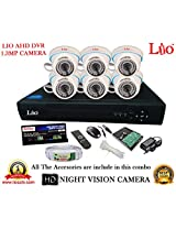 AHD LIO 8CH DVR + AHD 1.3 Megapixel High Resolution LIO 36IR DOME CAMERA 6pcs + 1 TB WD HDD + CABLE 3+1 COPPER + POWER SUPPLY (FULL COMBO)