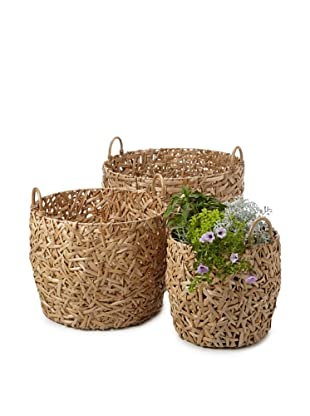 Wald Imports Set of 3 Oversized Round Random-Weave Seagrass Baskets/Planters (Natural)