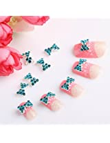 Jovana 10pcs 3D Blue Alloy Bow Tie Rhinestones Nail Art Glitters DIY Decoration Fashion