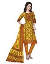 Jevi Prints Gold Cotton Printed Unstitched Dress Material