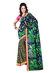 Indian Designer Faux Georgette Blue Embroidered Saree