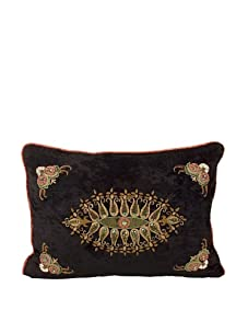 """John-Richard Collection Hand-Embroidered Pillow Acented with Copper Trim, 14"""" x 20"""""""