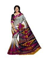 Abida Tassar Silk With Blouse Piece Saree (Ab12549 _Multi-Coloured)