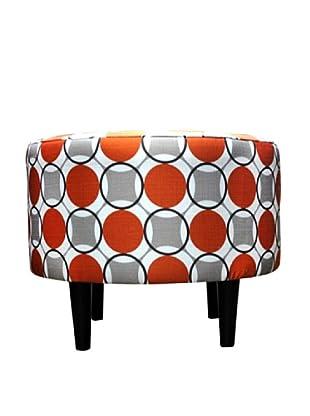 Sole Designs Sophia Halo Round Ottoman, Orange/White