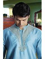 Embroidered Stylish Sky Blue Short Kurta_50