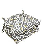 Pillow Perfect Yellow Damask Reversible Chair Pad, Gray/Greenish, Set of 2