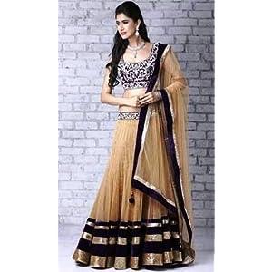 Designer Bollywood Style Beige Net Lehenga Choli Ghaghra Saree TR1005