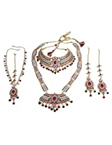 Exclusive Gold Plated Red-Green Crystal Made Bridal Necklace Set Indian Wedding Jewelry